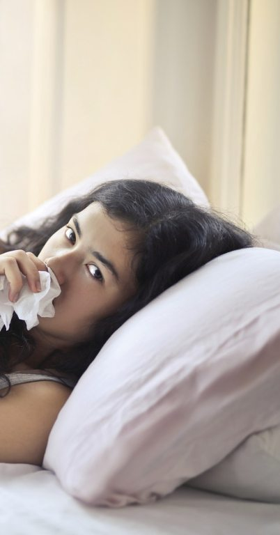 Woman ill with bronchitis