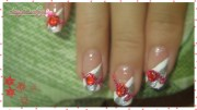 red white and silver nail art