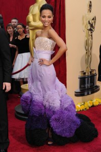 Zoe Saldana Givenchy SS2010 Haute Couture ombre gown 82nd Annual Academy Awards