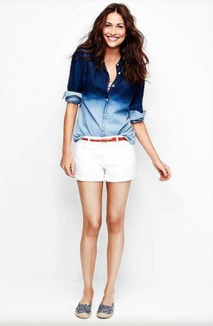old-navy-denim-shirt-white-shorts-happy lady