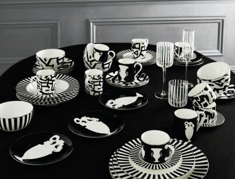 marks and spencer black and white plates