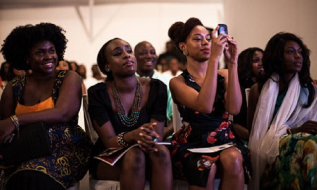 Women at a fashion show in Lagos