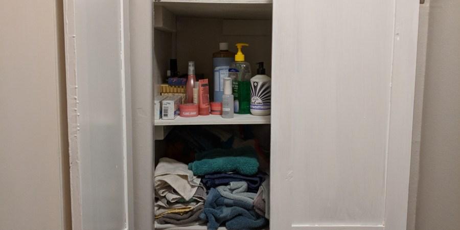Bathroom closet doors opened