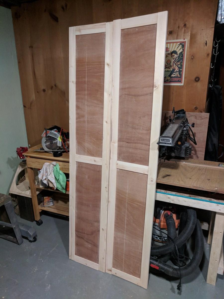 Bathroom closet shaker doors pre-paint