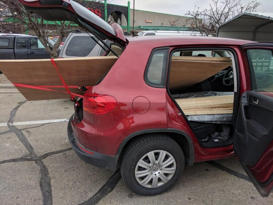 Car loaded wood