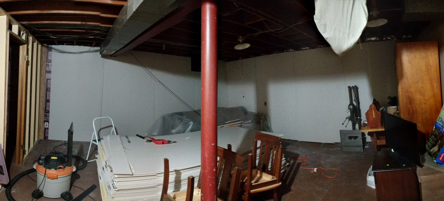 Basement drywall two walls