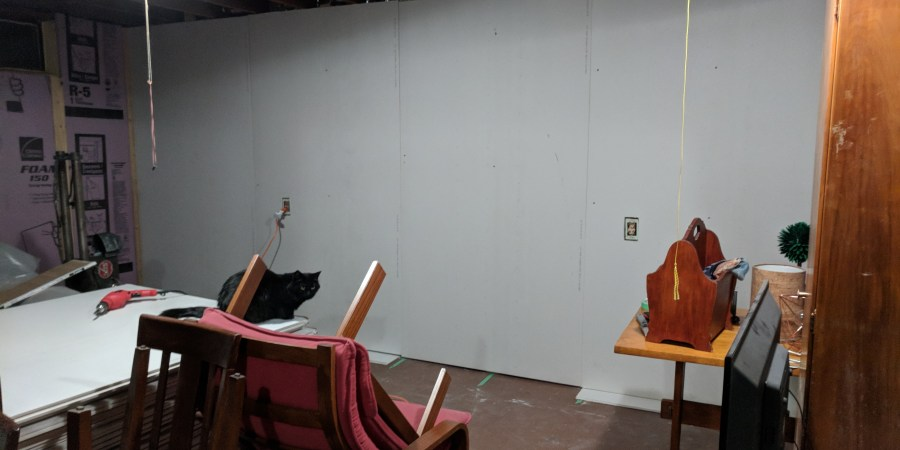 Basement drywall wall