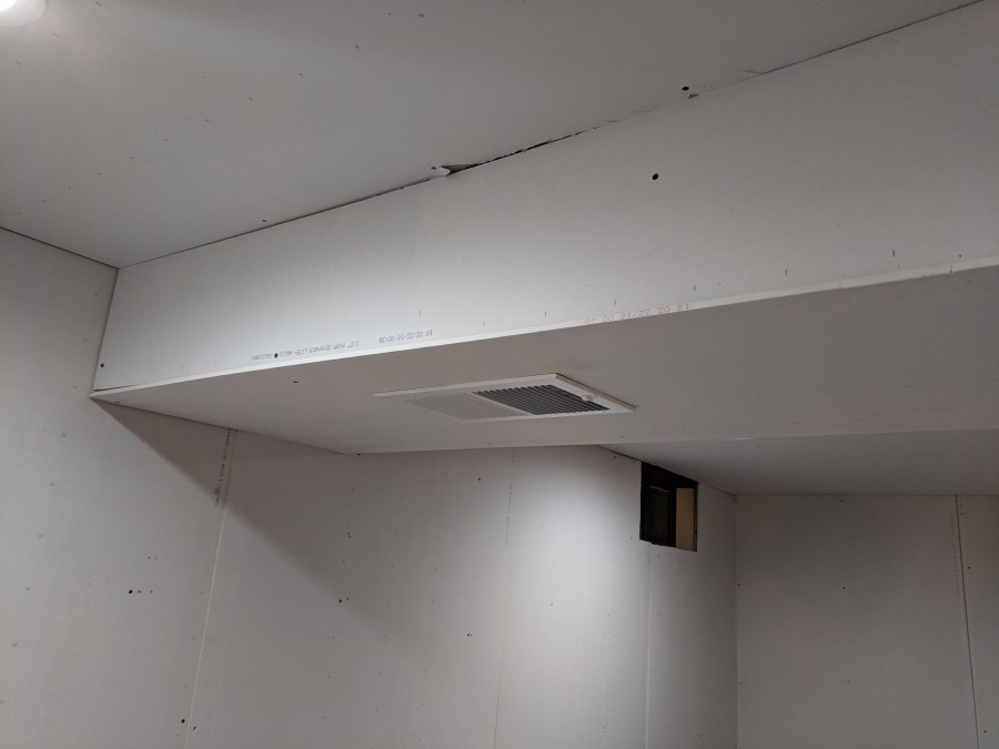 Ceiling drywall HVAC casing
