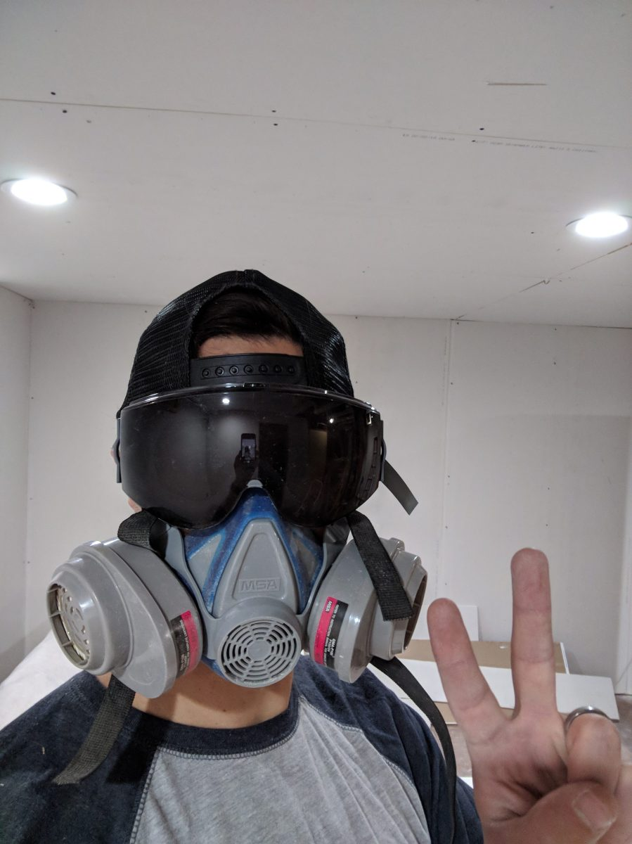 Ceiling drywall personal protective equipment