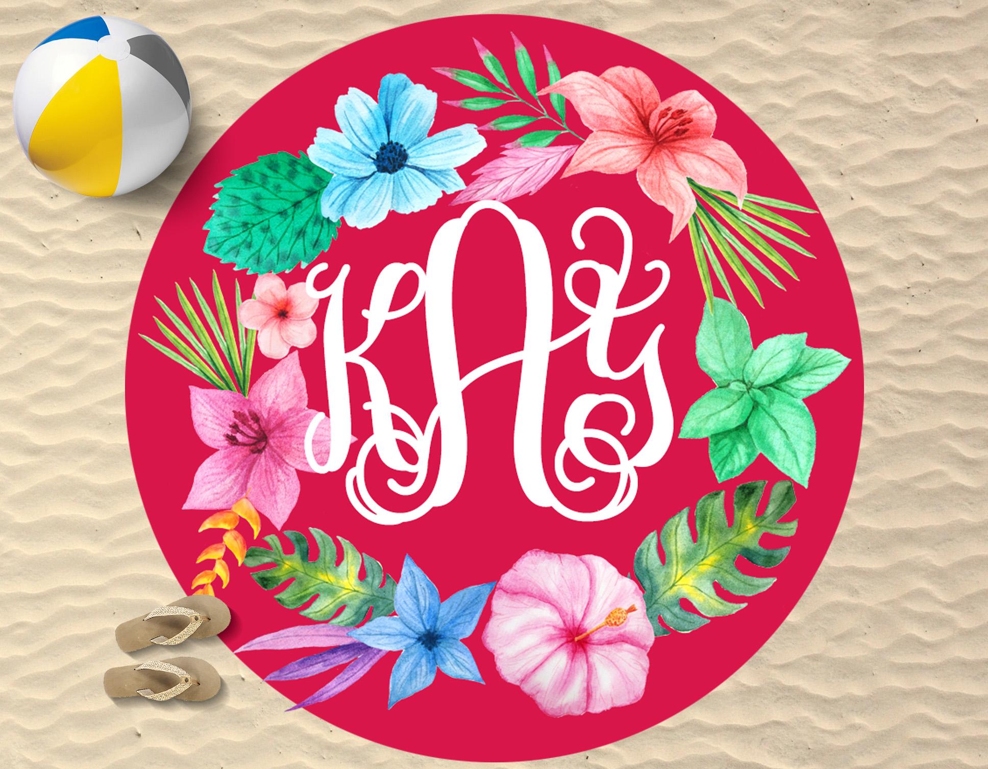 Monogrammed Round Beach Towel  Red Floral Wreath  Sassy