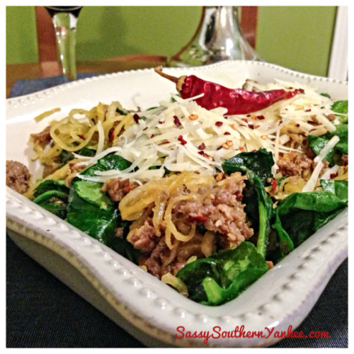 Spaghetti Squash with Spinach and Sausage