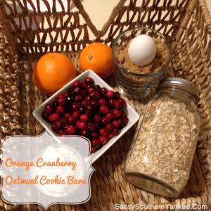 Orange Cranberry Oatmeal Cookie Bars
