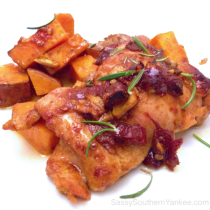 Chipotle- Glazed Roast Chicken with Sweet Potatoes from Sassy Southern Yankee