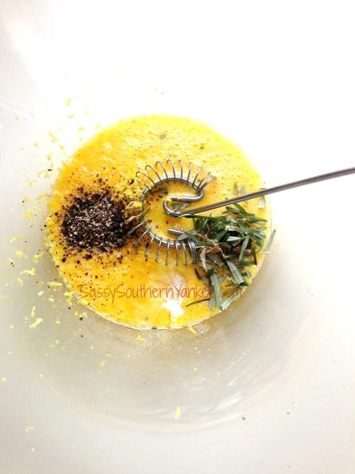 eggs, lemon zest, pepper