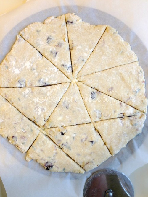 Cherry Almond Scones with Goat Cheese and Thyme Rolled Out