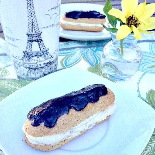 Brown Butter Eclairs with Dark Chocolate Caramelized Banana Pastry Cream