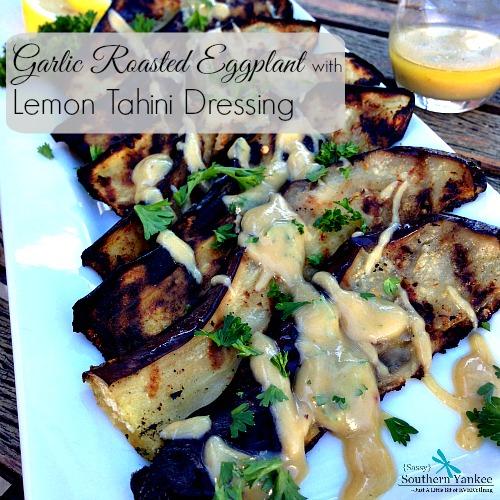 Garlic Roasted Eggplant with Lemon Tahini Dressing 4