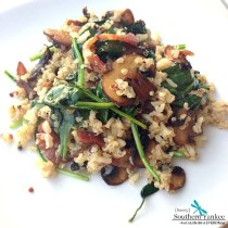 Bacon, Mushroom and Spinach Quinoa from Sassy Southern Yankee