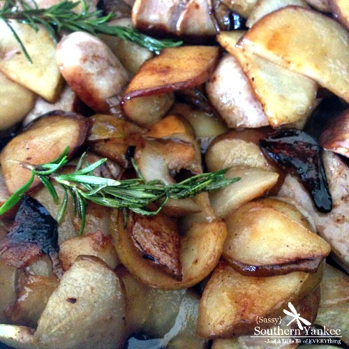 Roasted Brats with Caramelized Rosemary Pears from Sassy Southern Yankee