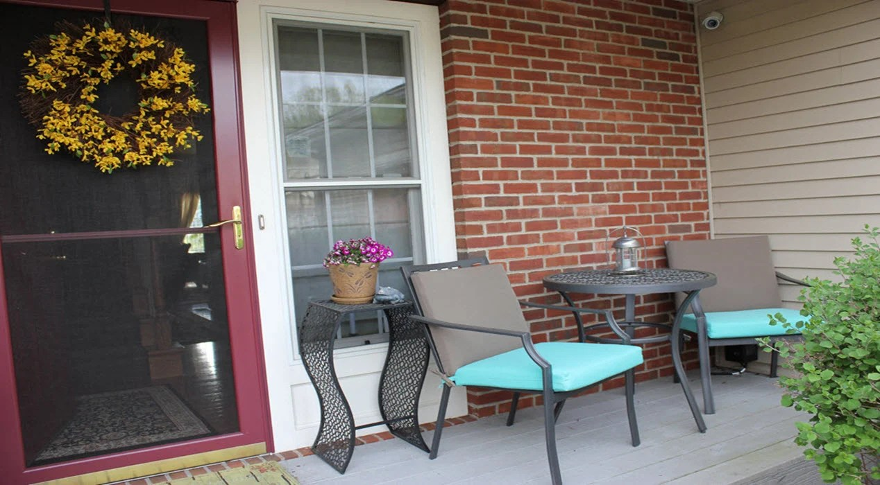 Small Front Porch Transformed with a Patio Bistro Set