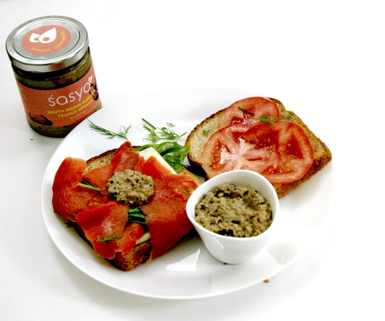 Image of smoked salmon sandwich with Sasya Peanut Spread