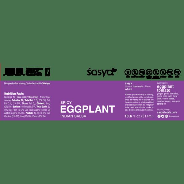 Picture of Sasya Eggplant Sasya Indian Dip Salsa spicy gluten free vegan Healthy Snacks, with an Indian twist