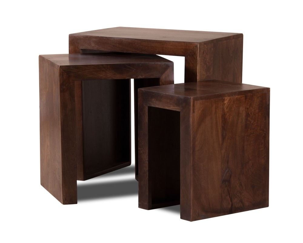 Set Of Three Solid Wood Nesting Tables