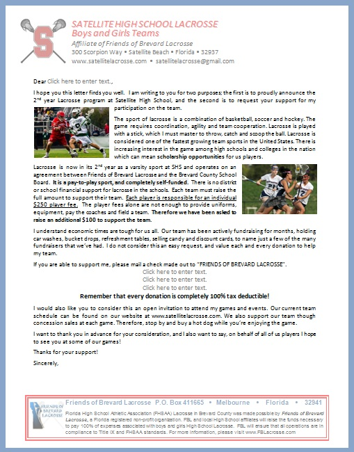 Player Donation Letter Satellite High Lacrosse