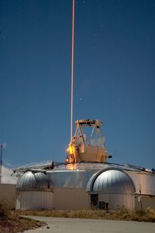 The Starfire telescope and its laser, used to compensate for atmospheric distortions
