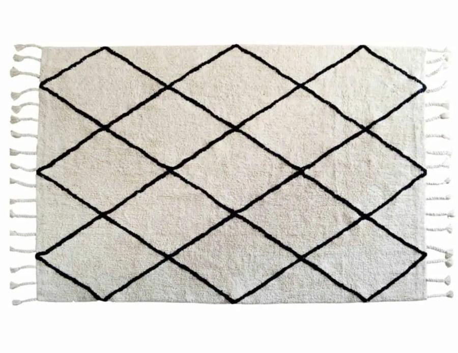 שטיח מעויינים כותנה לבן בוהו יהלום