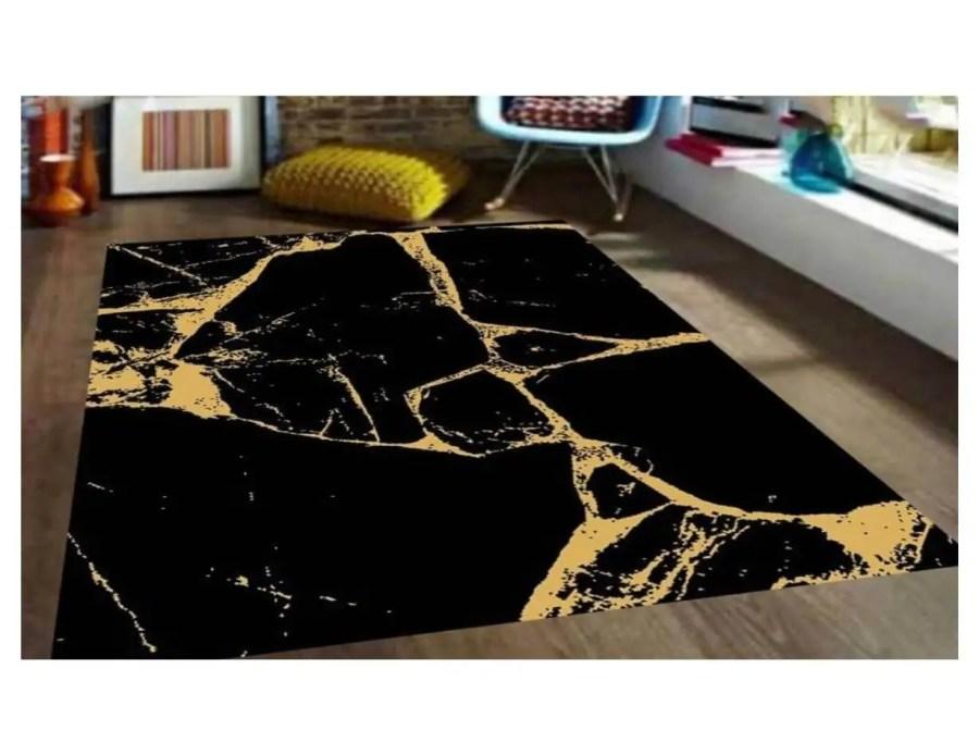 שטיח מודרני שחור זהב שיש מנומר NO26