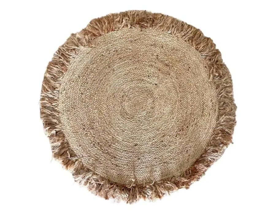 שטיח עגול קלוע פרזנים בוהו שיק