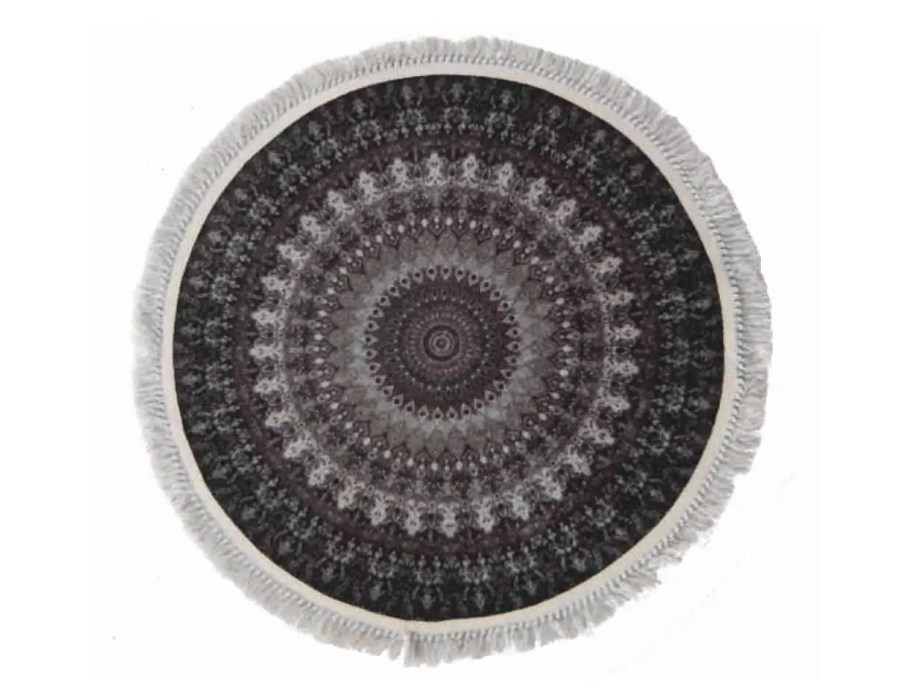 שטיח שחור עגול קלאסי רייאן