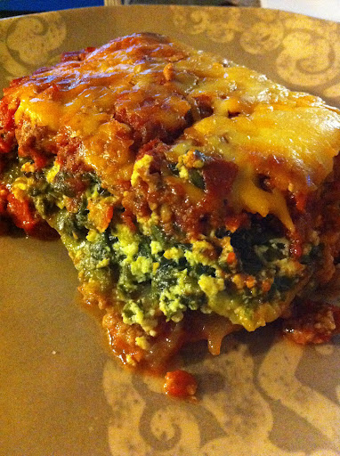 Zucchini and Spinach Lasagna with a Spicy Meat Sauce