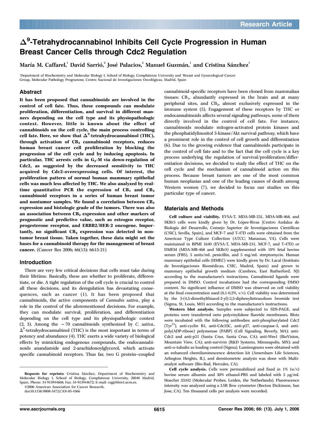 9 Tetrahydrocannabinol Inhibits Cell Cycle Progression In