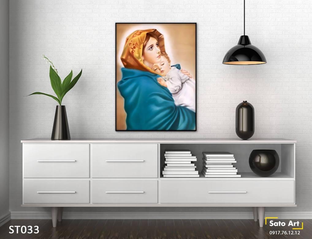 Tranh sơn dầu mẹ con