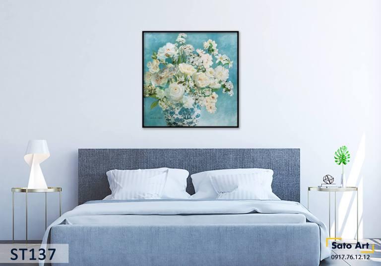 Tranh vẽ bình hoa đẹp