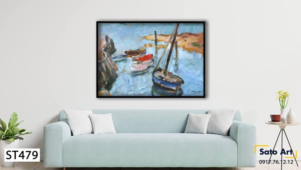 Tranh sơn dầu thuyền biển