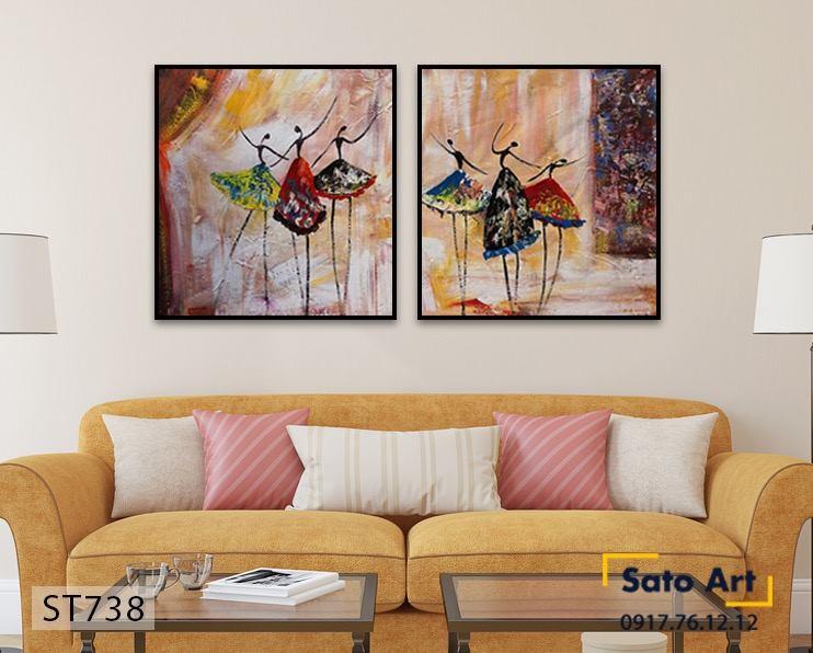 tranh sơn dầu cô gái nhảy múa
