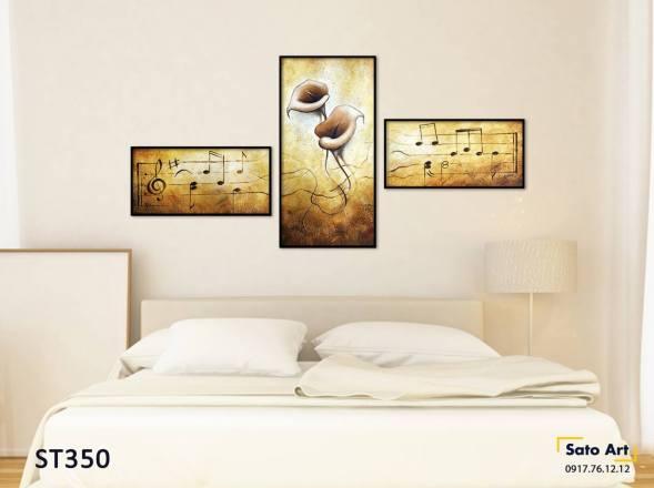 Bộ 3 tranh hoa và nốt nhạc