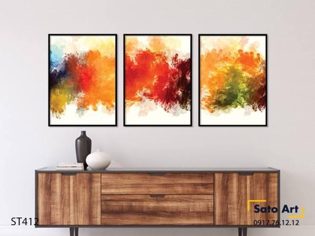 Bộ 3 tranh trừu tượng sắc màu