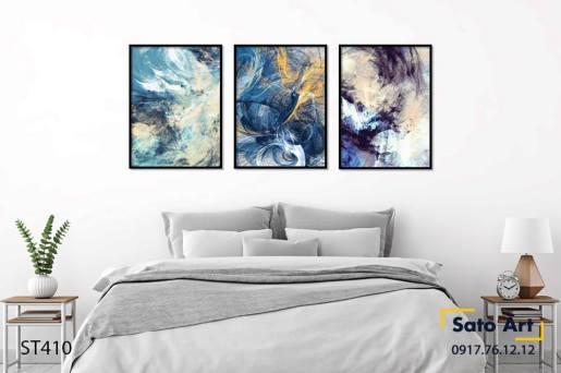 Bộ 3 tranh trừu tượng tone xanh