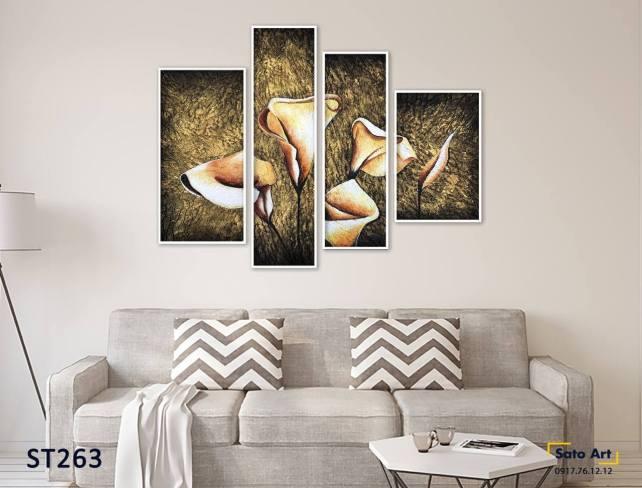 Bộ 4 tranh nghệ thuật hoa tulip