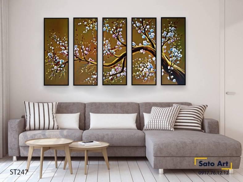 Bộ 5 tranh sơn dầu hoa mai