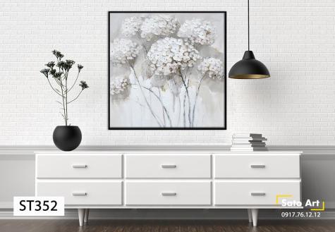 Tranh bông hoa tone trắng