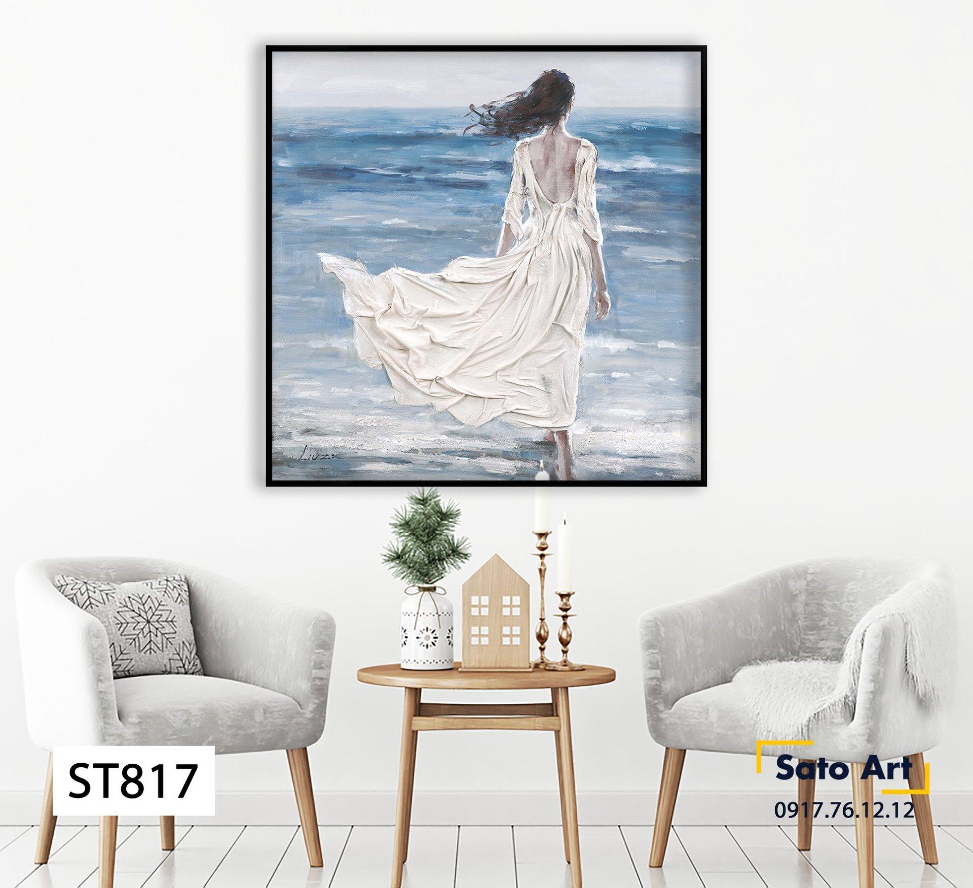 Tranh sơn dầu cô gái bên bờ biển