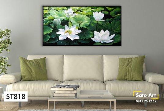 Tranh sơn dầu đầm hoa sen trắng