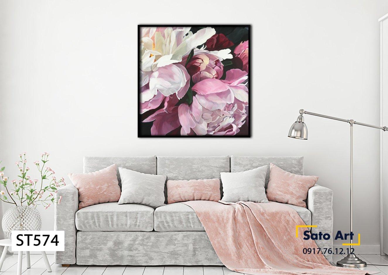 Tranh sơn dầu hoa mẫu đơn design