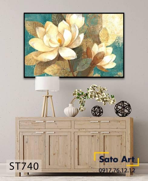 Tranh hoa sen sơn dầu