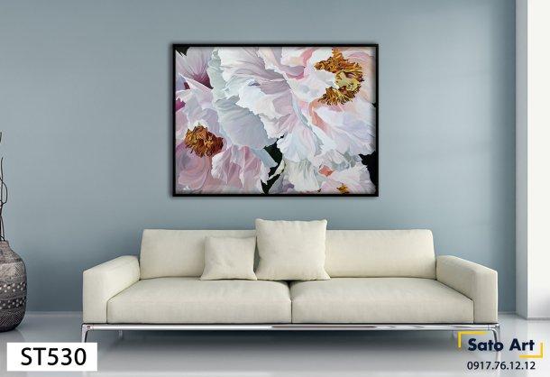 Tranh hoa trắng nở